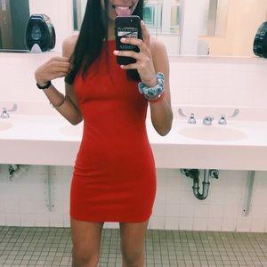 Short red body-con dress